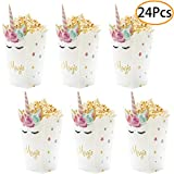 24Pcs Unicorn Birthday Party Supplies Unicorn Popcorn Box Snack Treat Box Candy Cookie Container For Baby Shower, Bridal Shower, Unicorn Theme Party Favors Decoration