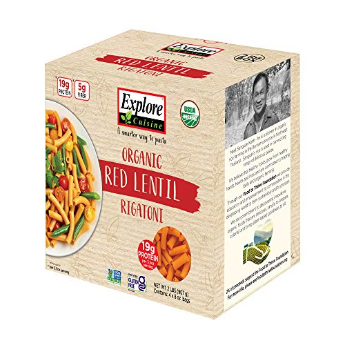 Explore Cuisine Organic Red Lentil Rigatoni - Family Pack - 2 lbs - Easy to Make Gluten-Free Pasta - High in Plant-Based Protein - USDA Certified Organic, Non-GMO, Vegan, Kosher - 16 Total Servings