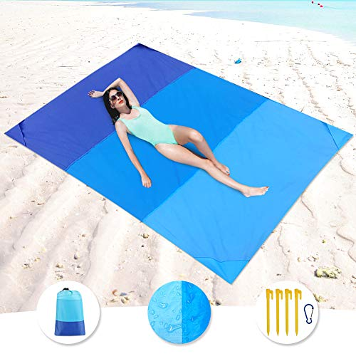 "KeShi Sand Free Beach Blanket, Large Oversized Waterproof Sand Proof Beach Mat, Outdoor Lightweight Portable Picnic Mat for Travel, Camping, Hiking and Music Festivals(82"" X79"")"