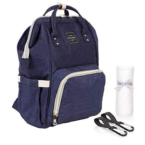 Babytasche Blau | Kinderwagenrucksack mit 2 Karabinerhaken und 1 Wickeltuch | Baby Wickelrucksack Groß und Wasserfest durch Oxford Material