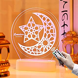 Eid Ramadan Led Lights Decor,Ramadan Night Light,3D Ramadan Decorations Lights for Home Indoor Outdoor,Muslim Atmosphere L...