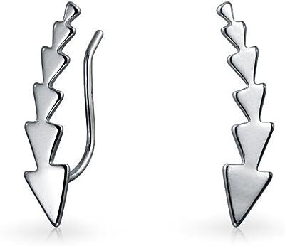 Minimalista Geometric Arrow Triangles Point Ear Pin Warp Climbers Orecchini per donne Ear Crawlers 925 Sterling Silver