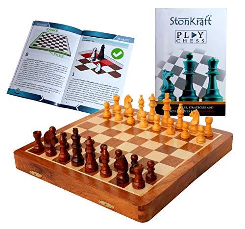 StonKraft Juego de ajedrez Hecho a Mano de Madera Premium de 31 x 31 cm - Juego magnético de Madera Plegable con Almacenamiento