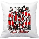 Diver Bebé Cojín con Relleno además de ser un león Soy un padrazo del Athletic - Blanco, 35 x 35 cm