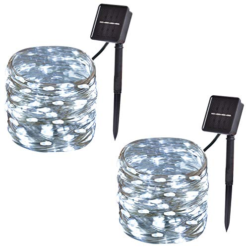 2-Pack, Outdoor Solar String Lights,33ft 100-LED Waterproof Solar Fairy Lights with 8-Modes for Outdoor/Indoor, Solar Christmas Lights for Garden, Party, Christmas Tree Decorations (White)