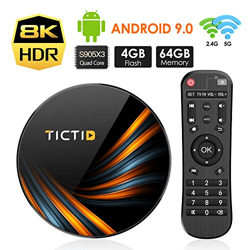 Android TV BOX 9.0 4GB DDR3 + 64GB EMCC, TICTID TV Box Android TX6...