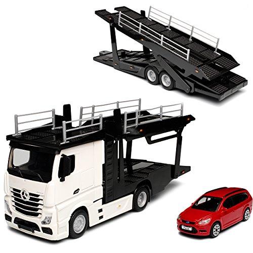 Bburago Mercedes-Benz Actros 2545 Weiss Autotransporter LKW mit Anhänger und Ford Focus Kombi Rot 1/43 Modell Auto