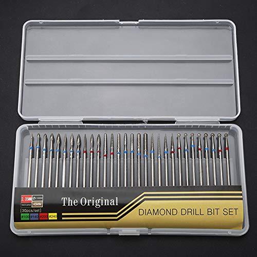 Ensemble de forets à ongles - 30PCS Diamant Forets Acrylic Nail File Bits Cuticle Drill Bit Efile Nail Bit Fine Grit for Manicure Pedicure Home Salon Use