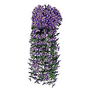 JENPECH Artificial Plant DIY Craft 2 Pcs Small Lily Flower Rattan Fake Outdoor UV Resistant Plants – Farmhouse Shrubs for Hanging Planter Garden Cemetery Grave Kitchen Decor Purple Blue