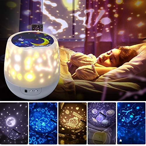 Lámpara Proyector Infantil Estrellas,Lámpara de nocturna Infantiles luz del proyector LED 360 grados rotación,6 color regulable combinaciones para cumpleaños,Navidad, Cuarto de los Niños, Boda