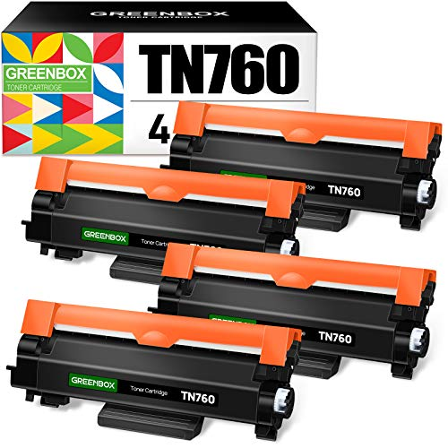 GREENBOX Compatible Toner Cartridge Replacement for Brother TN760 TN-760 TN730 TN-730 for Brother HL-L2350DW DCP-L2550DW HL-L2395DW Hl-L2390DW HL-L2370DW Printer (4 Black)