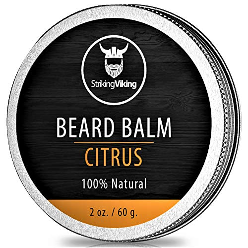 Citrus Beard Balm - Styles, Strengthens & Softens Beards and Mustaches - 100% Natural Beard Conditioner with Organic Shea Butter, Tea Tree, Argan & Jojoba Oils with Orange Scent by Striking Viking