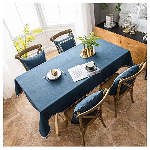 Mantel Rectangular Impermeable Antimanchas de Algodón y Lino, 140x190cm Mantel Mesa Lavable,Manteles Mesa Decorativo para Hogar Comedor del Cocina,Azul