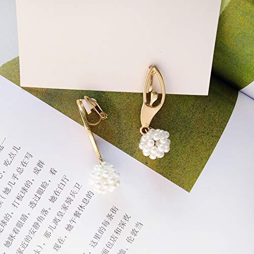 Chwewxi Pendientes de la Bailarina de la Moda Japonesa y Coreana Pendientes Temperamento Simple Grupo de Perlas sin Oreja Perforada Clip Pendientes, Modelos de Clip de Oreja