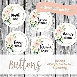 10 Buttons für den JGA weiß/modern