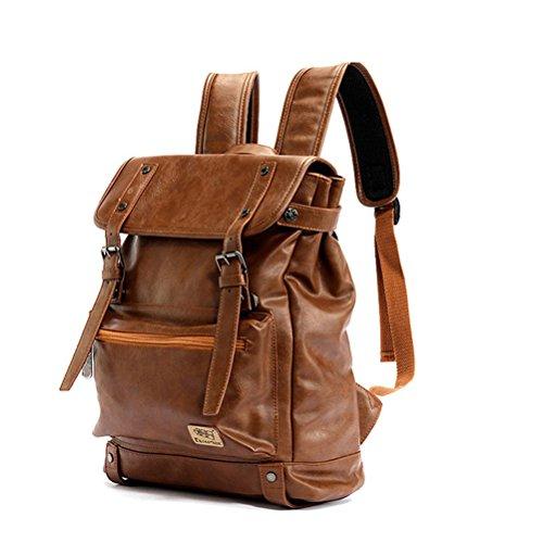 """YFbear Retrò Vintage Zaini in Pelle PU Esterni Viaggi Zaino Scuola Borsa a Tracolla fit iPad e 14"""" Laptop Backpack per Uomo e Donna (Marrone)"""