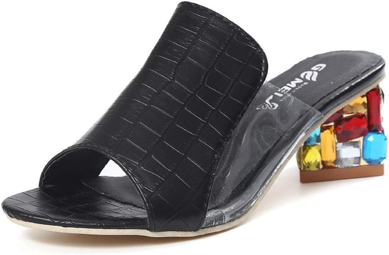 Btrada Women Summer High Heels Sandals Fashion Peep Toe Ladies Rhinestone Sexy Transparent colors Slipper
