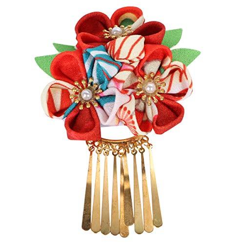Épingle à cheveux japonaise Kimono fleur pince à cheveux Kanzashi fleur cravate bande de cheveux pour femmes filles (rouge)
