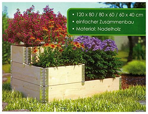 1a-Handelsagentur Bancal de madera con escalones elevados, escalera giratoria, jardinera para plantas