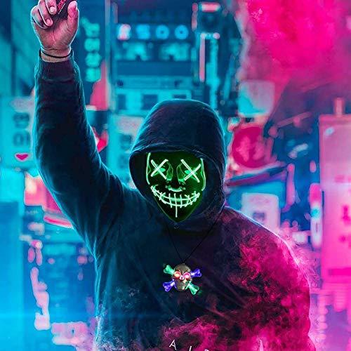 ALINILA Carnevale Maschera,Purge Mask LED,Horror Maschere Maschera per La Luce del Partito, 3 modalità di Lampeggiamento,per La Decorazione del Costume da Festa di Carnival