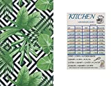 Summer Fun Geometric Tropical Vinyl Tablecloth Flannel Back with Zipper and Umbrella Black and White Geometric Design with Tropical Leaves with Custom Magnet (60'' x 84'' Oblong)