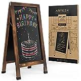 Tableau noir magnétique Arteza, cadre en A, 101x51 cm, chevalet de trottoir double face, tableau sandwich en chêne résistant aux intempéries pour les menus, les ventes, les annonces et les événements