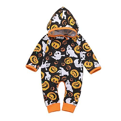puseky Nouveau-né bébés garçons Filles Citrouille à Capuche Barboteuse Combinaison Onesies Halloween Costume