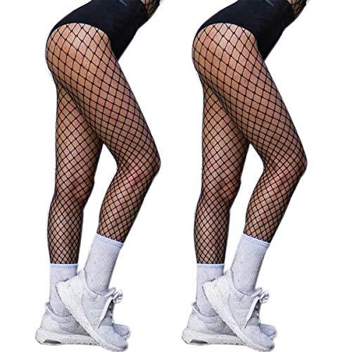 2 Pair Fishnet Stockings for Women High Waist Fish Net Tights Pantyhose DancMolly (One Size, Medium Hole,2 Pair)