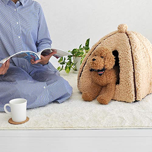 「プチリュバン」ブランドのペットベッドペットハウスMブラウン(ワンちゃん、イヌ、犬、ドッグ、ネコちゃん、猫、キャット用)