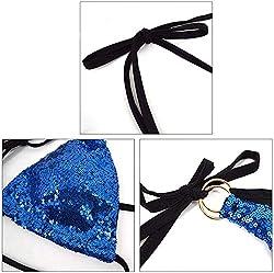Blue Triangle Bikini Set 2 Pieces Cross High Neck Halter