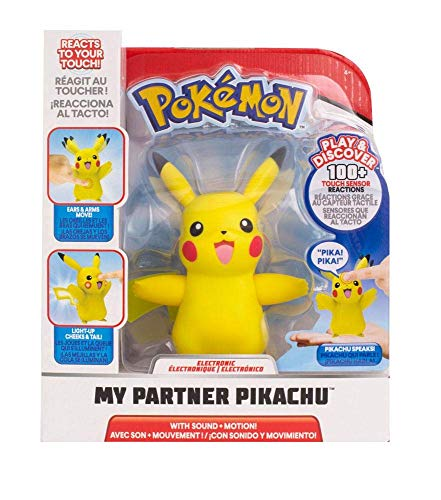Pokémon Pikachu, ca. 10 cm groß, interaktiv, reagiert auf Berührung und bewegt Arme und Ohren, mit Entdeckungs- und Trainingsmodus