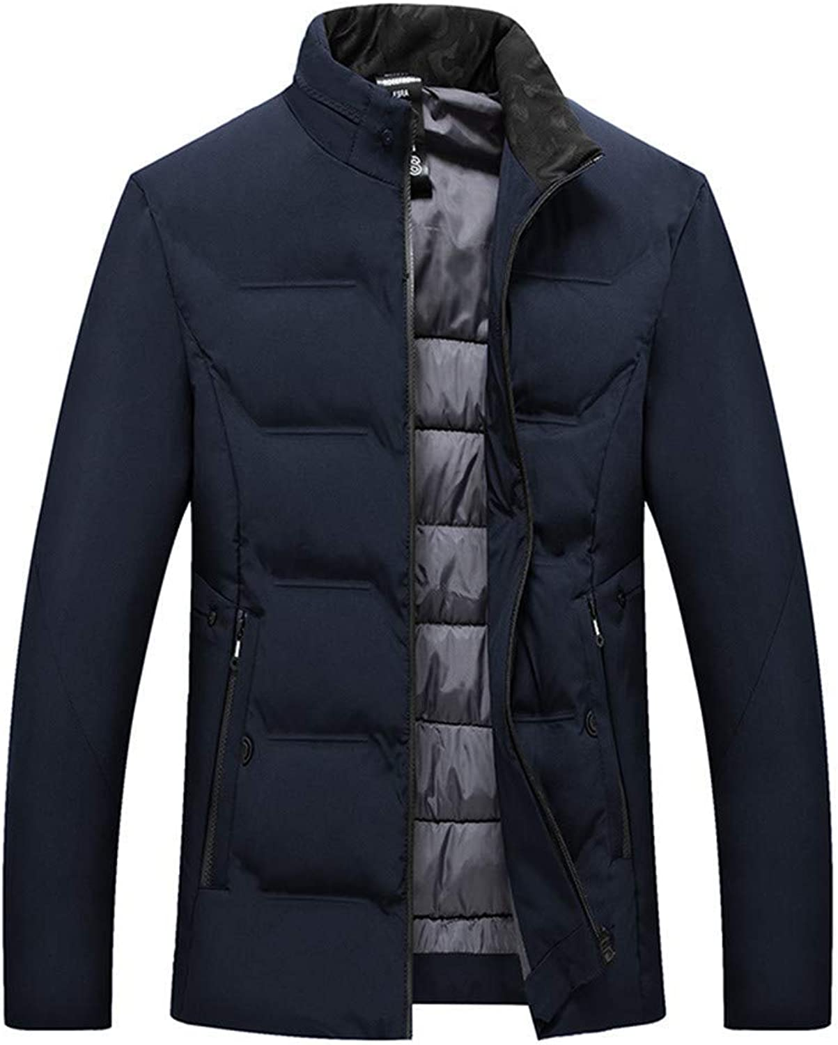 Warm Outerwear Mens Down Jacket,Casual Thermal Down Coat Slim Fit Outerwear Puffer Coat Top (color   Navy, Size   Large)