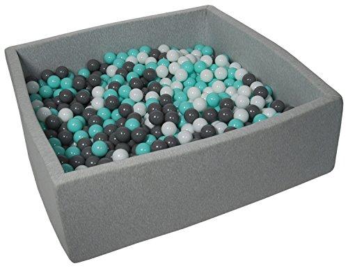 Velinda Bällebad Ballpool Kugelbad Bällchenbad Kinder-Pool mit 900 Bällen/120x120cm (Farbe der Bälle: Weiß, Grau, Türkis)