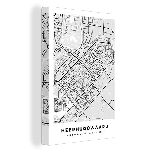 Canvas Schilderijen - Stadskaart - Heerhugowaard - Grijs - Wit - 90x140 cm - Wanddecoratie - canvas met 2cm dik frame