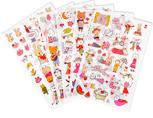12 Sheets Small Cartoon Rabbit Journal Stickers Cute Korean Stickers Anime Stickers Stationery Decal Stickers for DIY Arts and Crafts,Life Daily Planner,Calendars (Cartoon Animal)