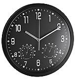 Alco Reloj de Pared Redondo 35cm Termómetro y higrómetro, plástico, Negro, 35x 35x 4cm