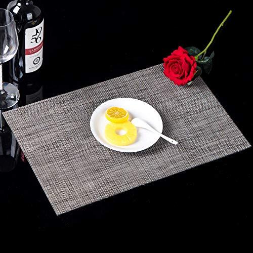 NC Bordstabletter halkfria vattentäta värmeisolerande dynor västerländsk bordstablett brickor 4 delar hampa grå