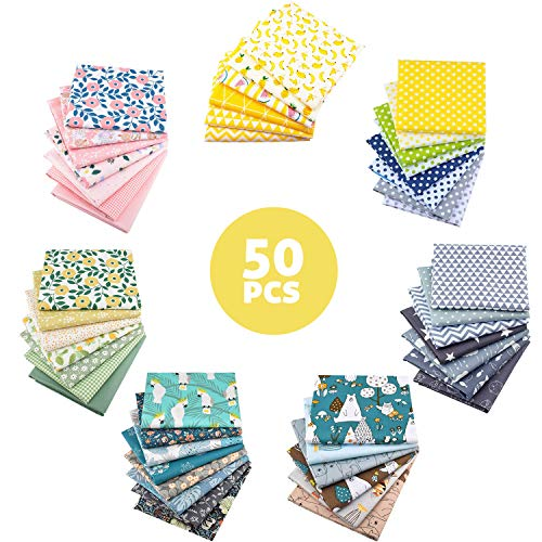 Aubliss 50pcs Quilting Cotton Craft Fabric Bundle (100% Cotton - 9.8in x 9.8in / 25cm x 25cm) Pre-Cut Squares Sheets Printed Floral Sewing Supplies for Patchwork Sewing DIY Crafting Quilting