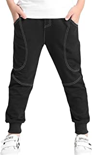 Bjinxn Boys Cotton Sweatpants Kids Casual Jogger Pants Tapered Ankle Pants Age 4-13 Years