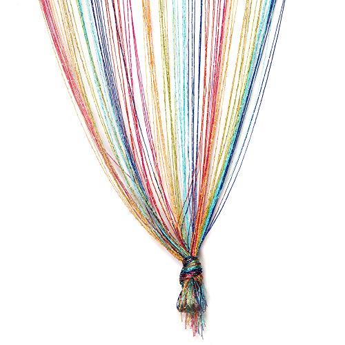 TRIXES Mehrfarbig Fadenvorhang im Tautropfen Design als Raumteiler Fliegenschutz oder als Festliche saisonale Dekoration Voller Größe: 90cm x 200cm - Vorhänge (Rainbow)