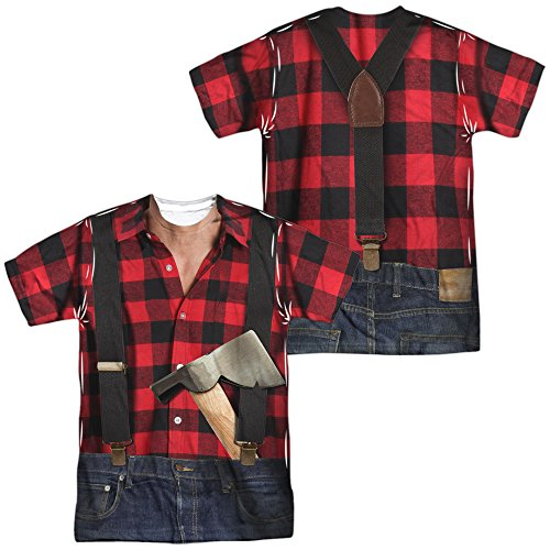 Lumberjack Costume Unisex Adult Sublimated T Shirt for Men and Women White