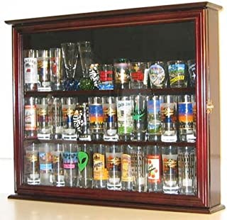 Wall Mounted Curio Cabinet/Sports Shot Glass Display Case, Solid Wood, Glass Door, SC04B-MAH