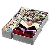 Baodan Lot de 4 séparateurs de tiroir pour soutien-gorge, sous-vêtements, cravates, écharpes, mouchoirs - Gris