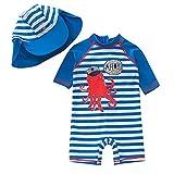Zulaniu Ensemble de bain Maillot combinaison monobloc Chapeau avec motif de poulpe monobloc UPF 50+ Pour bébé garçon, bleu, 18-24M