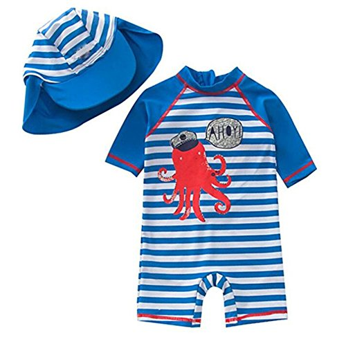 UV Zulaniu Baby Toddler Girls Long Sleeve Swimsuit Kids Two Pieces Rash Guard Sunsuit with Hat UPF 50