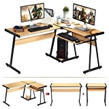 Computer Desk, HEEYUE L-Shaped Large Corner PC Laptop Study Table Workstation Gaming Writing Desk with Keyboard Tray for Home Office - Free CPU Stand - Wood & Metal - Beech Wood Grain