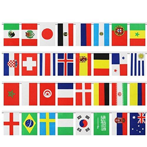 LUOEM Banderas internacionales Banderas mundiales Banderas del mundo 2018 Top 32 Banderas Banner Decoraciones para fiestas Suministros para las Olimpiadas Gran apertura Clubes deportivos Eventos de fiestas Decoraciones