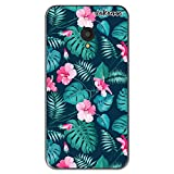 dakanna Funda Compatible con [ Alcatel U5 - Orange Rise 42 ] de Silicona Flexible, Dibujo Diseño [ Flores Tropicales ], Color [Borde Transparente] Carcasa Case Cover de Gel TPU para Smartphone