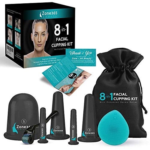 Zone - 365 8-in-1 Silicone Facial Cupping Set, 5 Eye, Face, and Body Cups, Derma Roller, Exfoliating Brush, and Travel Bag