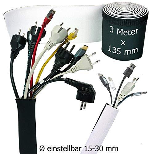 Kabelslang wit - zwart, kabelgoot flexibel, neopreen 3 meter x 135 mm met innovatieve klittenbandsluiting en instelbare diameter | kabel verstopt 3 Meter x 135 MM